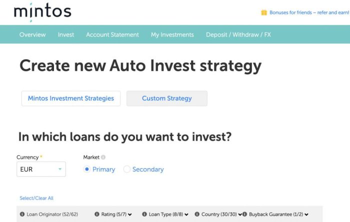 Mintos Investment Criteria @ Savings4Freedom