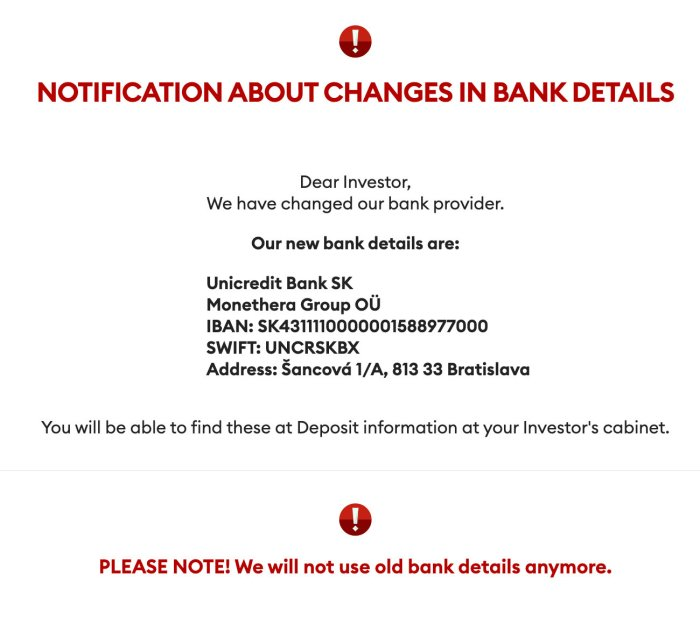 Monethera Bank Deposits Account Update @ Savings4Freedom