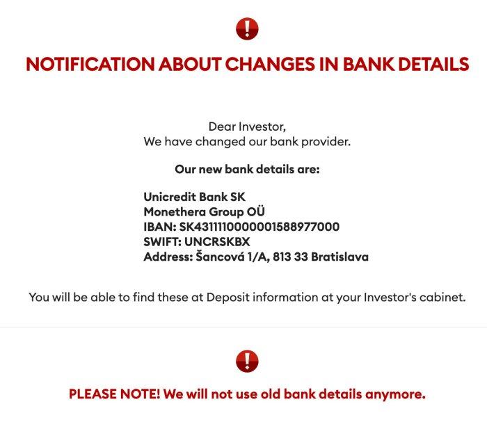 Monethera Bank Deposits Account Update @ Savings4Freedom