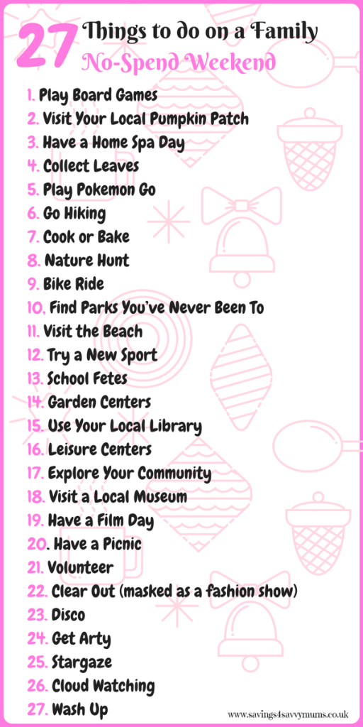 27 things to do on a family no-spend weekend by Laura at Savings 4 Savvy Mums. #NoSpend #Weekend