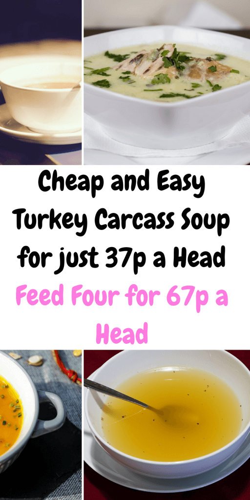 Turkey Carcass Soup is a great way to use up left over turkey. It's a freezable recipe too! #TurkeyCarcassSoup #CheapLunchIdeas