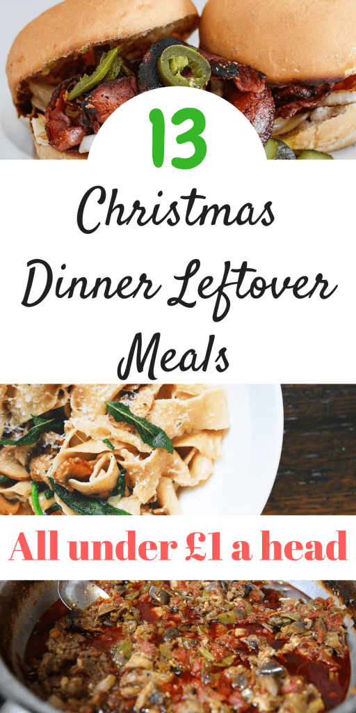 if you have loads of Christmas leftovers but unsure what to do with them, then have a look at these 13 recipes that come in at under £1 a head for 4. Perfect for the family and all can be frozen for another time by Laura at Savings 4 Savvy Mums. #ChristmasDinnerLefovers #FamiliesFood #BudgetFoodIdeas