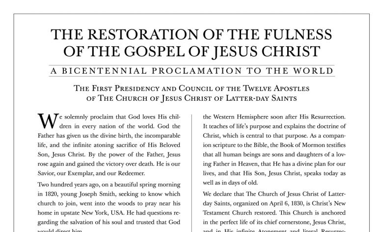 Restoration Proclamation Study