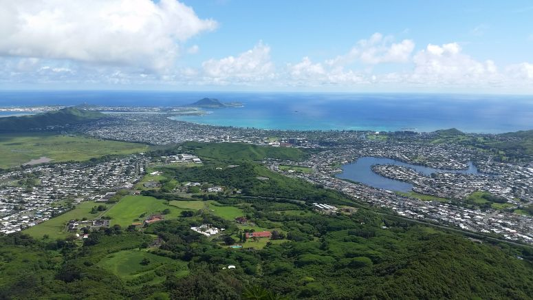 View of Kailua from Olomana Peak Oahu Hawaii