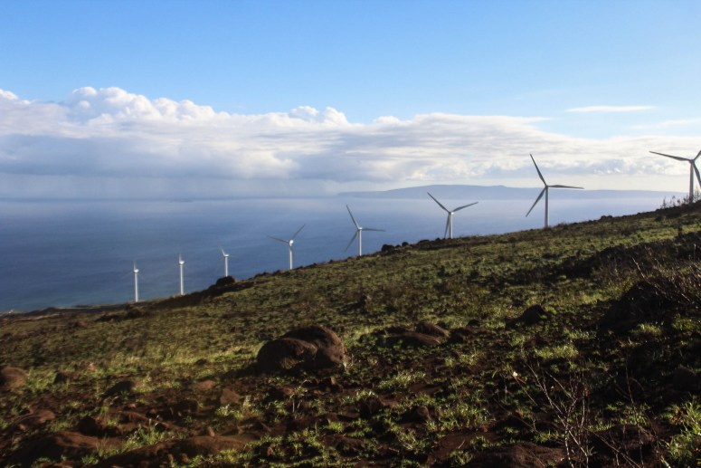 Wind Turbines on Lahaina Pali Trail on Maui