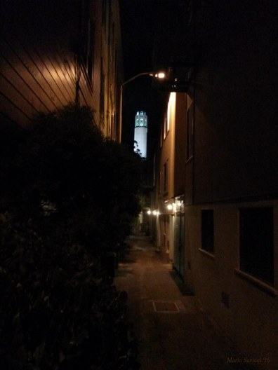 Coit Tower in the Dark in Alley copy