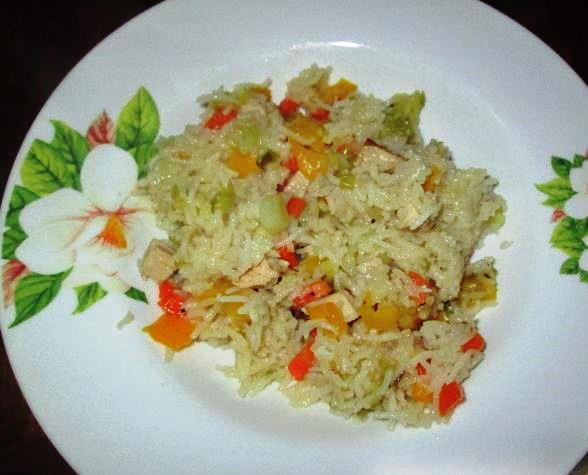 Rice with vegetables and smoked turkey