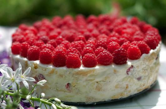 cake with whipped cream, vanilla cream and raspberries