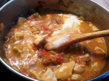 Stewed chicken breast and mushrooms
