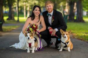 Madeline & Jared with their two corgis