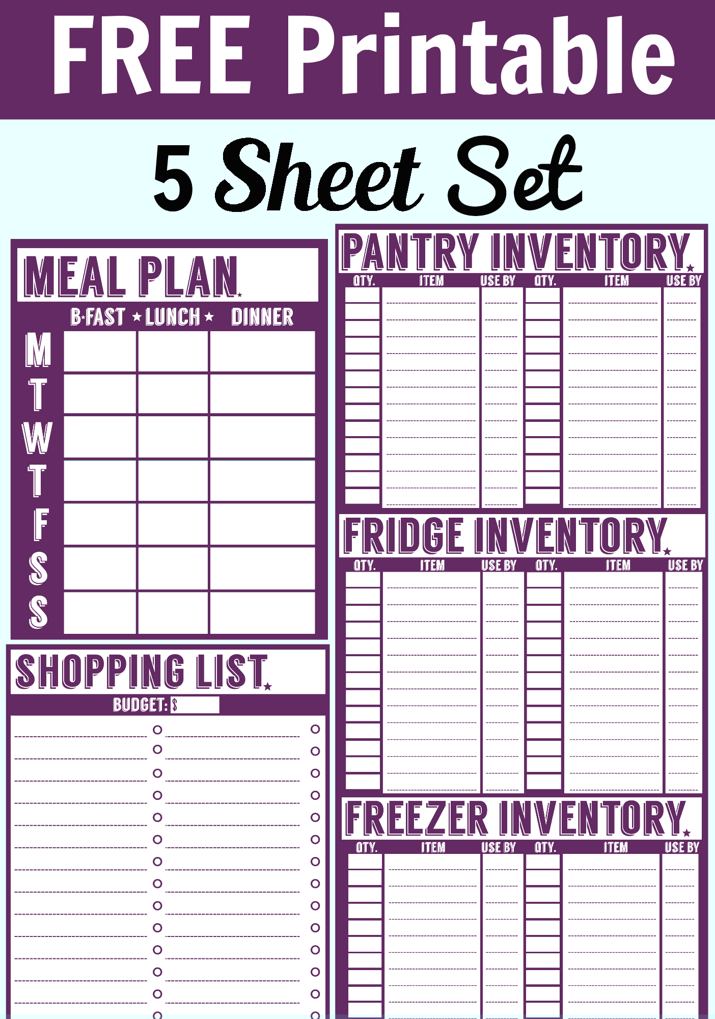 free printable menu planner shopping list inventory sheets