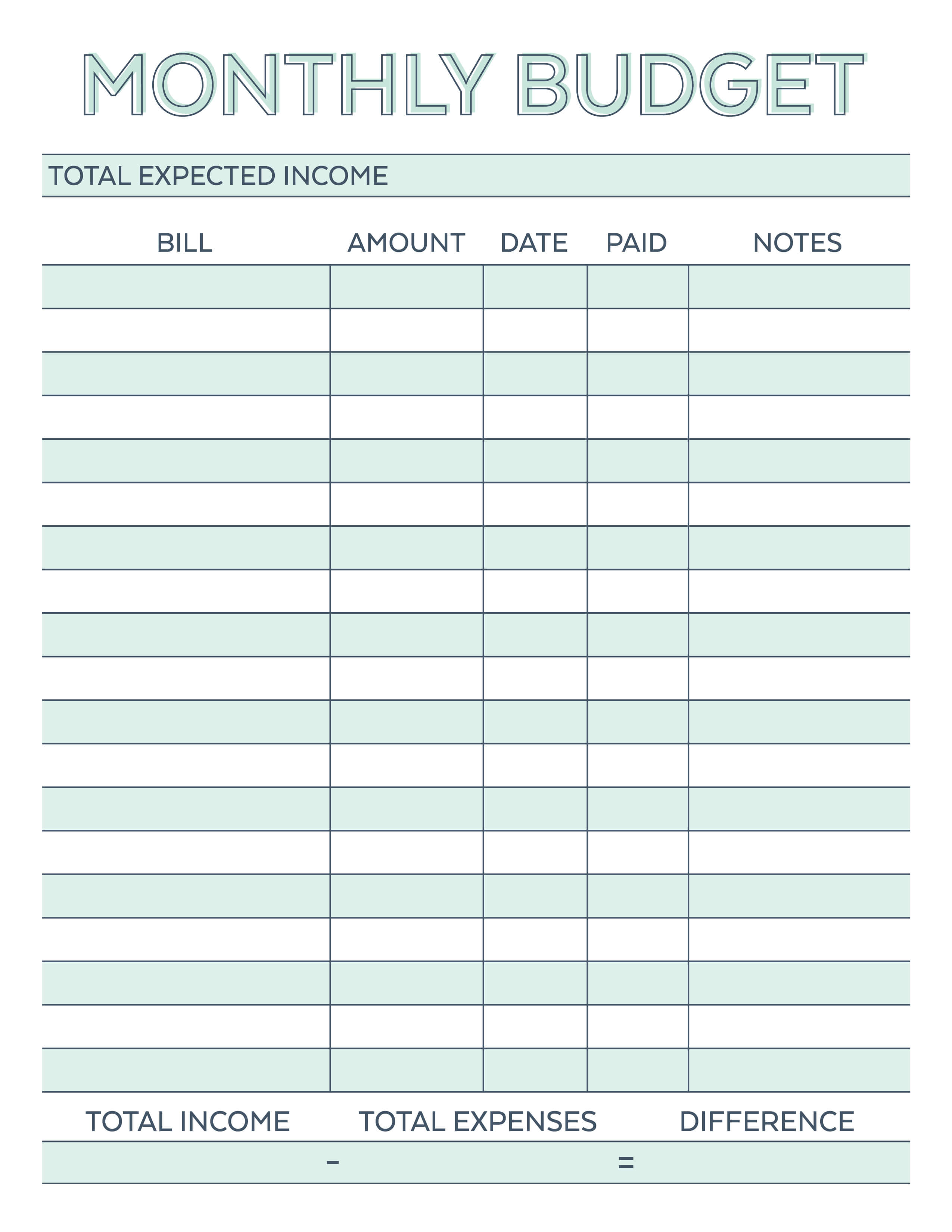 Monthly Budget Planner Free Printable Worksheet