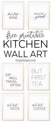 "Free Printable Kitchen Wall Art - 8x10"" Set of Six Prints"