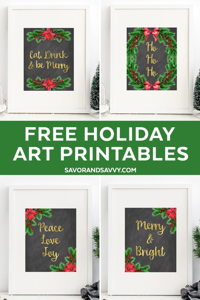 christmas printables free holiday wall art set