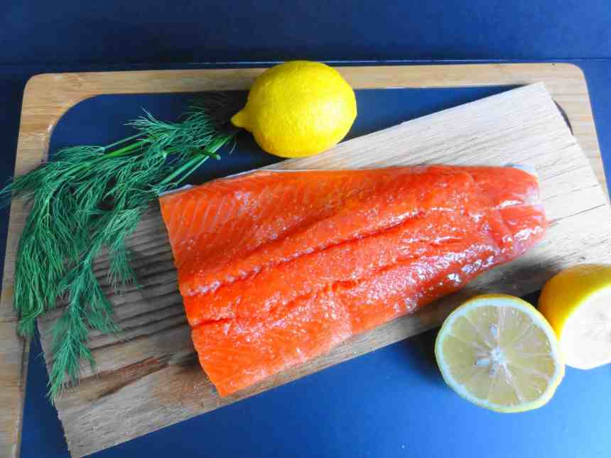 Cedar-Plank Sockeye Salmon with Havelnut Vinaigrette