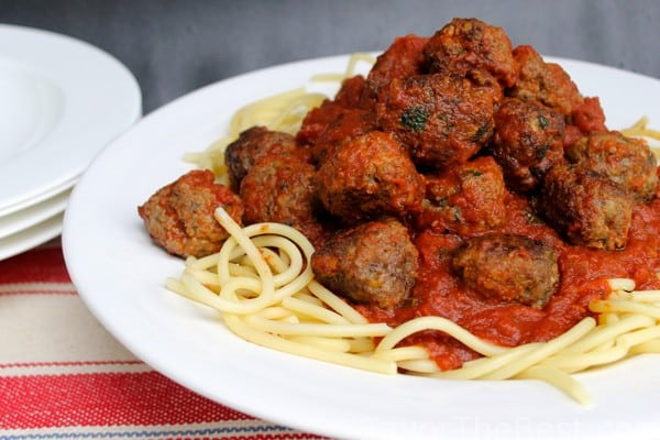 Italian Meatballs and Spaghetti with Tomato-Garlic Sauce