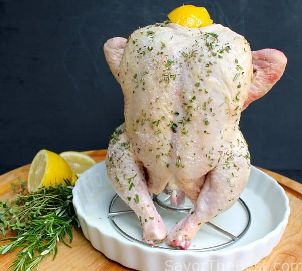 Beer Can Roasted Chicken With Wine, Lemon And Fresh Herbs
