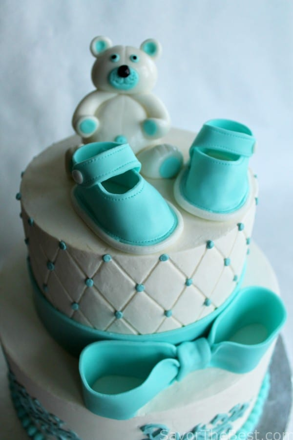Cake Design Teddy Bear : Baby Shower Cake Design with Fondant Baby Shoes and Teddy ...