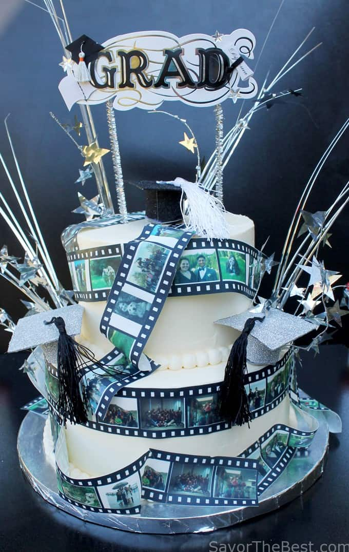 film strip graduation cake