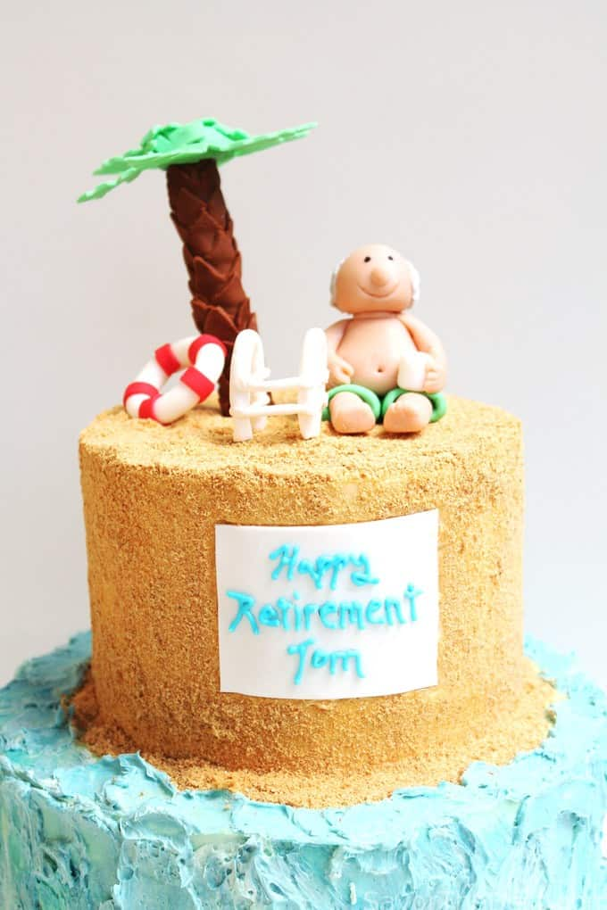 lazy day beach cake (retirement cake design)