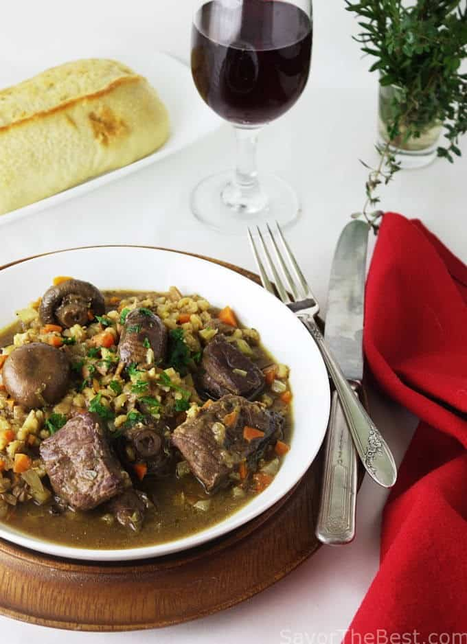 Beef with Mushrooms and Barley