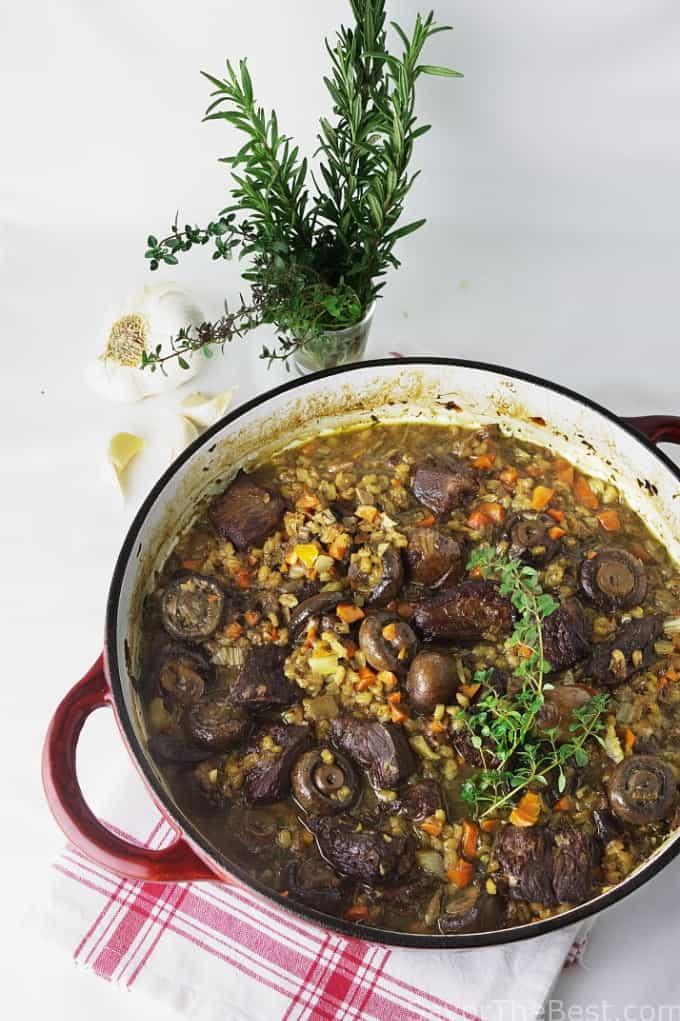 beef with mushroom and barley