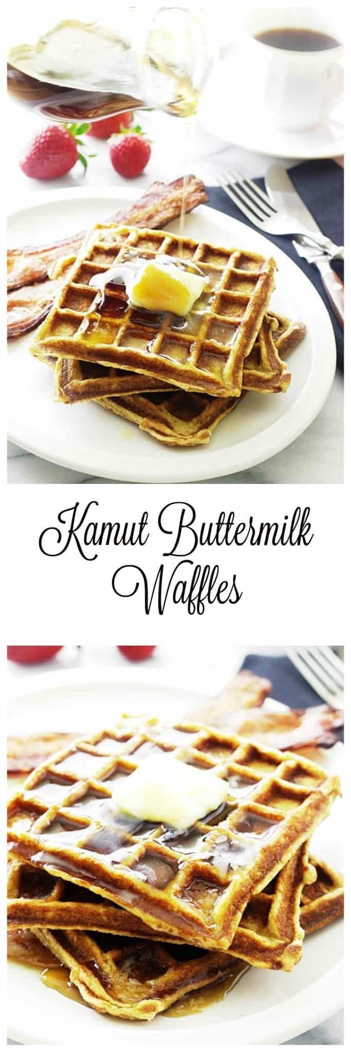buttermilk waffles are made with stone ground kamut flour, whole grain oat flour and ground flax seed.