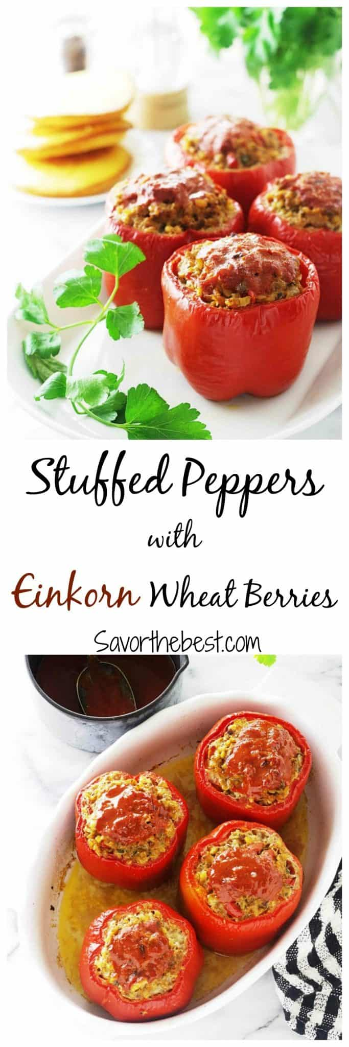 stuffed peppers with einkorn berries