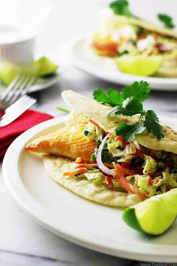 Tex-Mex Fish Tacos with Chipotle Slaw