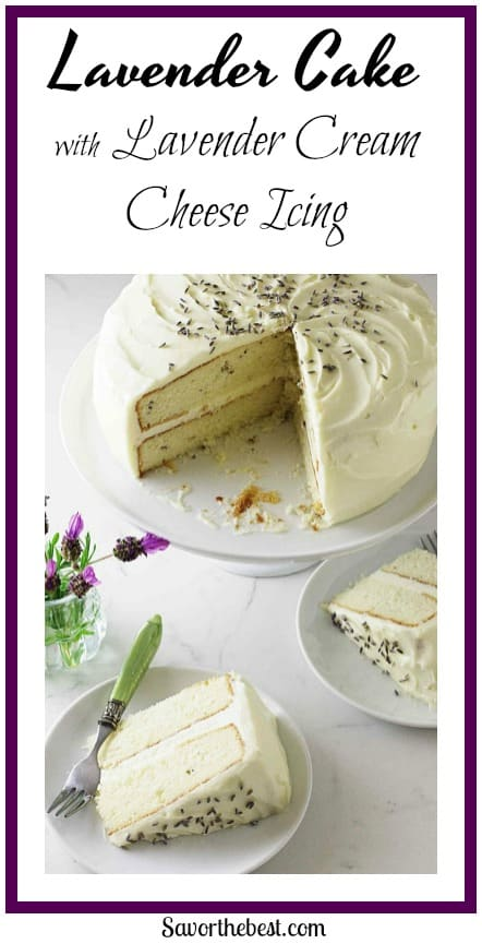 lavender cake with lavender cream cheese icing :A dreamy white cake lightly flavored with culinary lavender and lavender buds and cream cheese icing.
