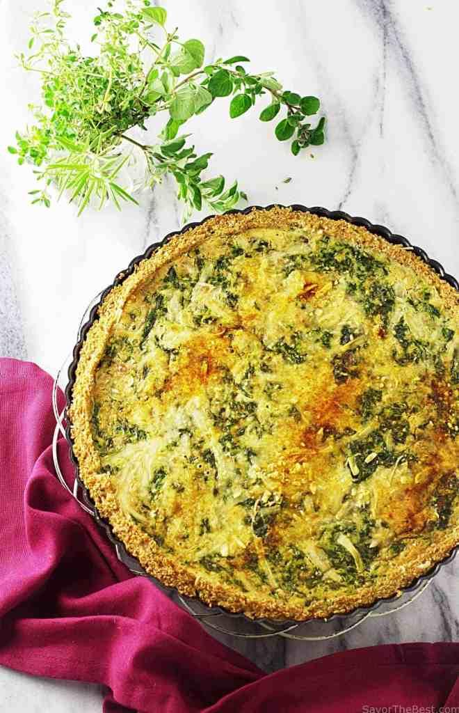 Spinach-Gouda Quiche with Quinoa Crust