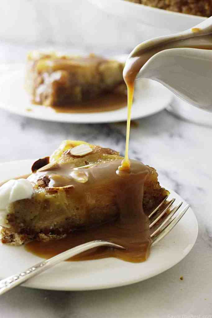 Einkorn almond pear cake with brown butter bourbon sauce