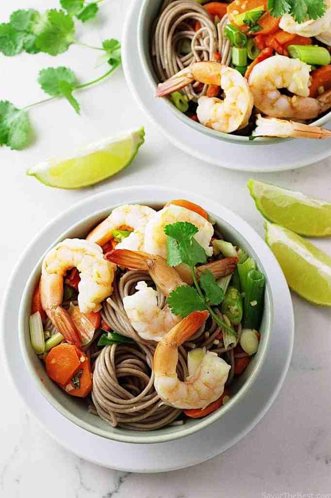 Soba Noodles, Shrimp and Spicy Peanut Sauce