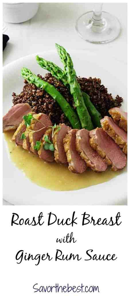 roasted duck breast with ginger rum sauce
