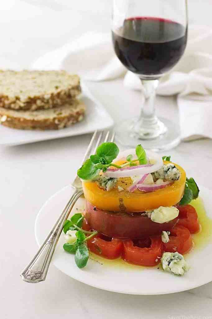 Heirloom Tomato Napoleon with Crumbled Maytag Blue Cheese