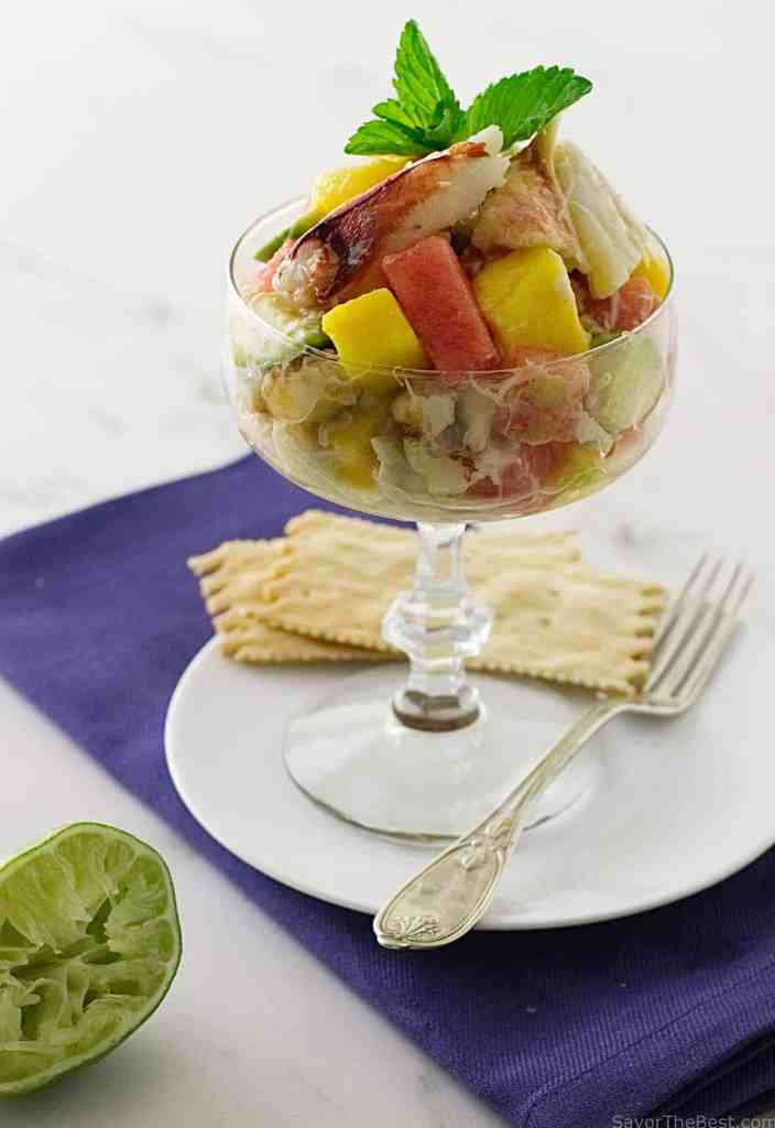 Crabmeat Cocktail with Watermelon, Mango and Avocado