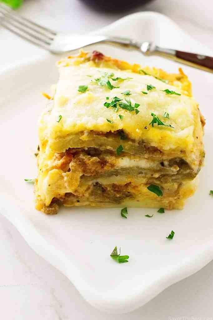 Eggplant Lasagna with Spicy Italian Sausage Meat Sauce
