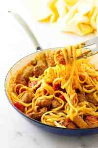 Linguini with Spanish Chorizo and Romesco Sauce