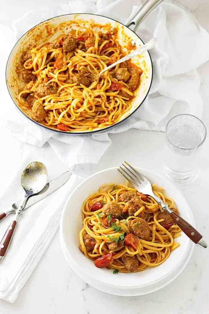 Linguini with Spanish Chorizo and Romesco Sauce