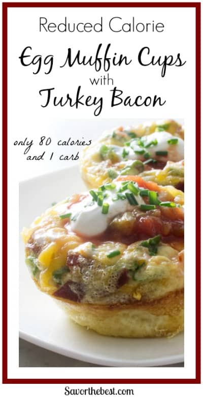 Reduced calorie egg muffin cups with turkey bacon