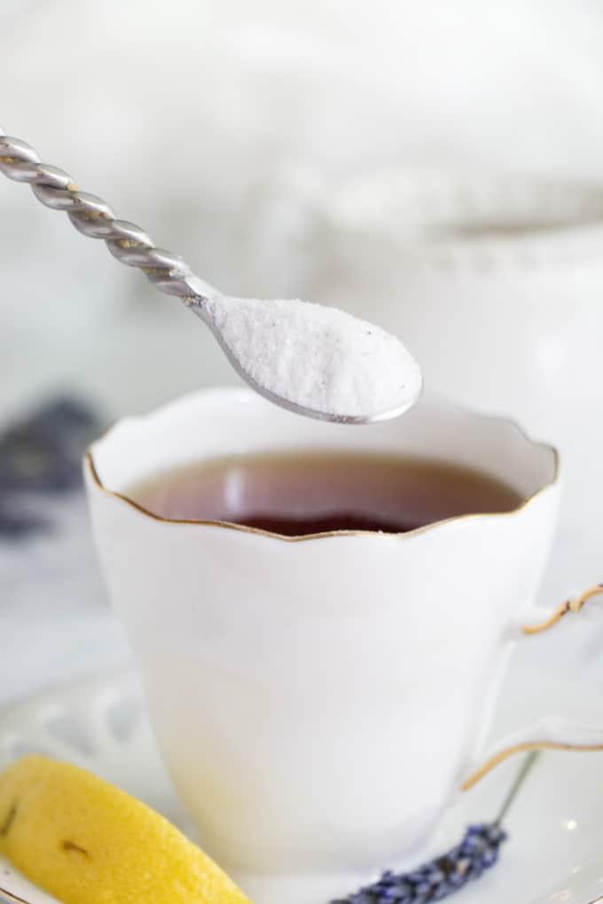 lavender infused sugar in earl grey tea
