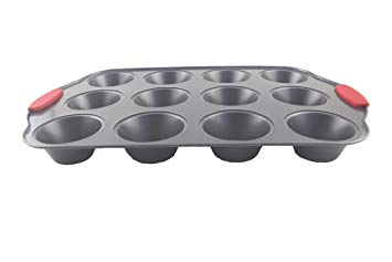 12 Cup Cupcake & Muffin Pan | Non-Stick with Red Silicone Handles | Professional FDA Approved BPA-Free Bakeware