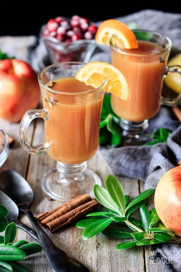 two glasses of wassail