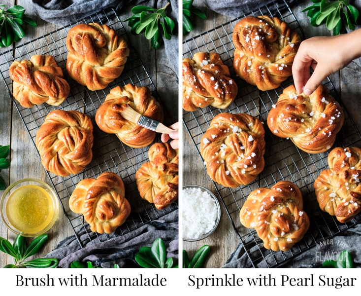 decorating Swedish cardamom buns