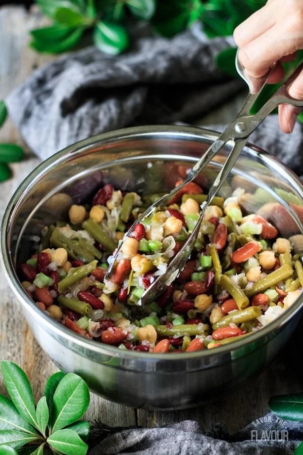 mixing up the three bean salad