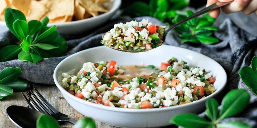 spoonful of cactus salad