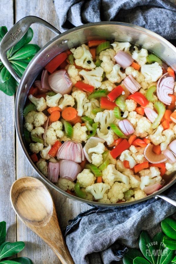 veggies for giardiniera in a pot