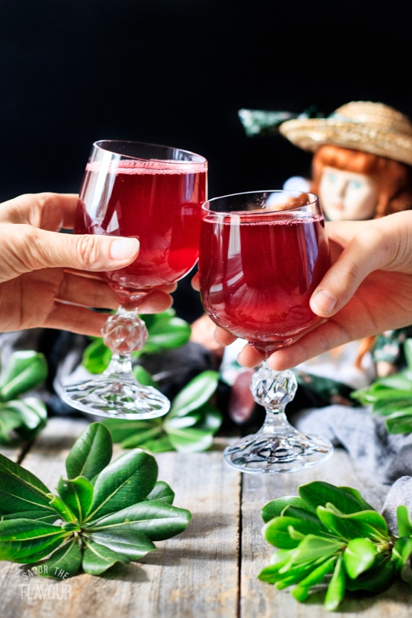 doing a toast with two glasses of raspberry cordial