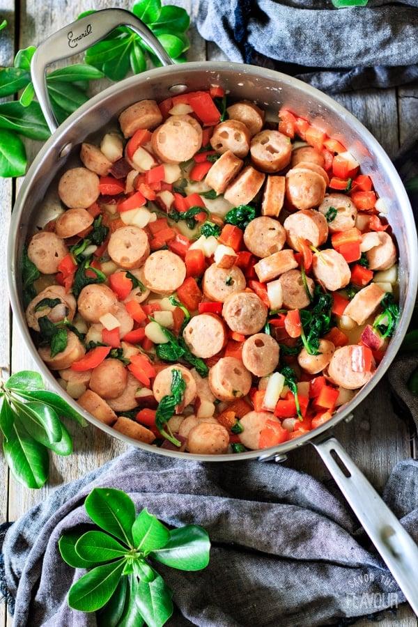 sausage and veggies for sausage, pear, and gouda rigatoni