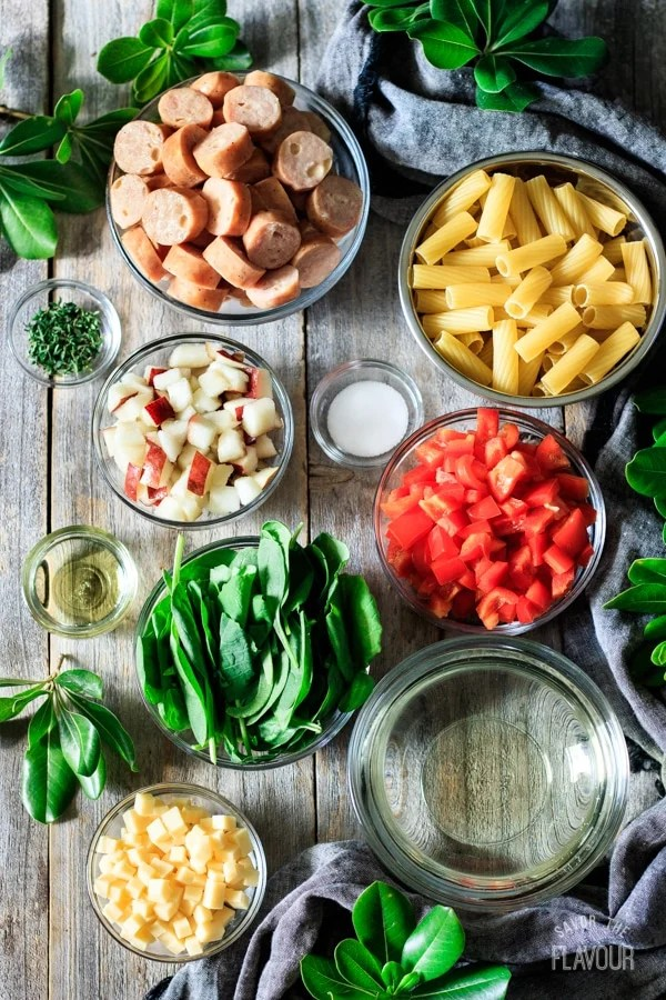 ingredients for sausage, pear, and gouda rigatoni